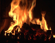 open solid fuel fire